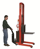 1,500 & 2,000 lb Capacity Powered Stacker - Fork Model - Use